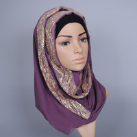 Female Solid Color GLITTER Flower Chiffon Silk Popular Shawls Muffler Headband Hijab Summer Muslim Scarves Scarf