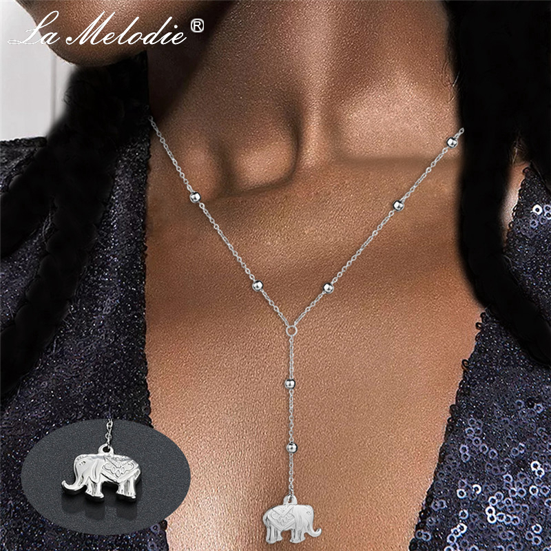 New Silver Stainless Steel Chains Necklaces Moon Elephant Hamsa Hand Crosses Hearts Pendants&Necklace For Women Gift Jewelry(China)