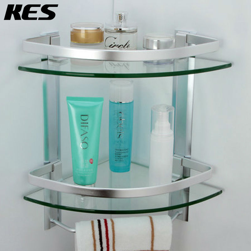 online shop kes a4123b aluminium bad 2 tier glas eckregal mit handtuchhalter wand silber sand gesprht aliexpress mobil - Eckregal Dusche Glas