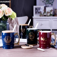 OUSSIRRO Super Hero Justice League Infinity Mugs With Cover and Spoon Pure Color Mugs Cup Kitchen Tool Christmas Gift