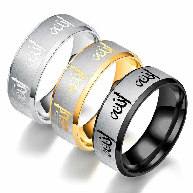 Anillos negros de acero inoxidable 2018 para hombres anillos de dedo chapados en plata anillos de islamismo de moda para mujeres par de anillos joyería