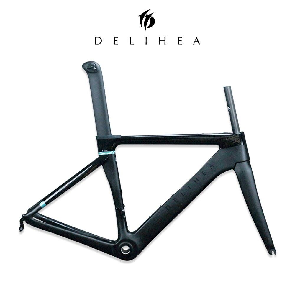 DeliHea Aero Quadro de Estrada de Carbono Completo New Design Série Frente Quadro Da Bicicleta Branco Fosco Acabamento Principalmente EMS Frete Grátis