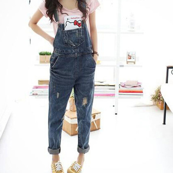 Women Denim Jumpsuit 2018 Ladies Loose Jeans Rompers Female Casual Plus Size Hole Denim Overall Playsuit With Pocket plus size women in overalls