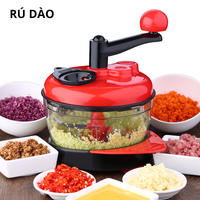 RUDAO 2L Kitchen Manual Food Processor Mixer Egg Blender Meat Grinder Vegetable Chopper Shredder Stainless Steel Blade Cutter
