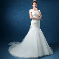Long Train Design Classic Simple Lace Up Bow Back Off The Shoulder Sheer Straps Applique Mermaid Wedding Dress Casamento