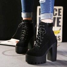Women's Shoes Suede Fashion Platform Closed Toe Chunky Heel 13cm Bootie Comfort Boots Black Beige