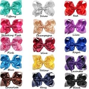 Image 5 - 30 шт. (15 видов цветов пар), блестящие заколки для волос с блестками и бантиками аллигатора, разноцветные однотонные ленты для маленьких девочек, заколки для волос с бантами