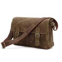 Nesitu Best Vintage High Quality Brown Real Genuine Leather Cowhide Crazy Horse Leather Men Messenger Bags Cross Body #M6002
