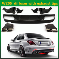 2015 2016 c63 amg Mercedes W205 ABS rear diffuser with exhaust tips for benz c class W205 amg package C200 C220 C250 C300 C350