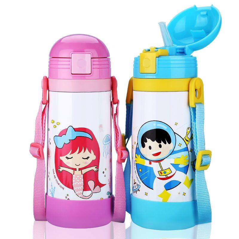 450ML Antibacteriële band Thermoset voor kinderen met rietje Roestvrij staal Melkreservoir voor babymelk Duurzame kinderfles