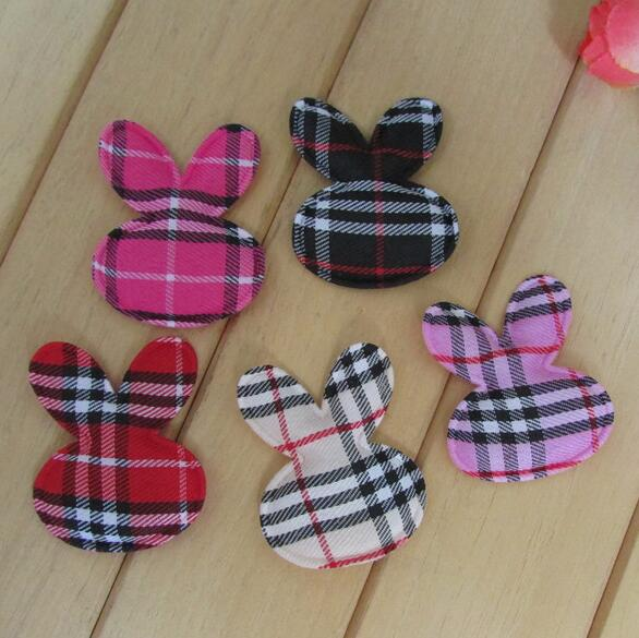 50pcs/lot 4.5x3.5cm Cute Padded Felt/Gingham Rabbit head Shape Appliques Kidsc DIY, Baby BB Clip Accessories