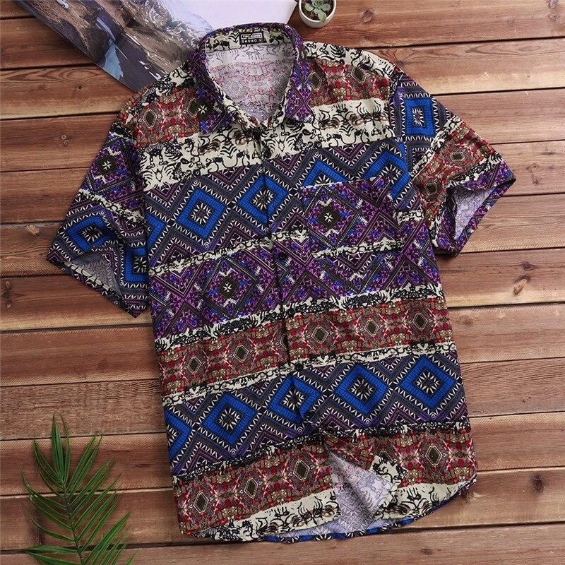 39ec730935af3 2018 Summer Floral Shirts Men Camisa Casual Shirts Short Sleeve Hawaiian  Boho Cotton Fashion Mens Shirts