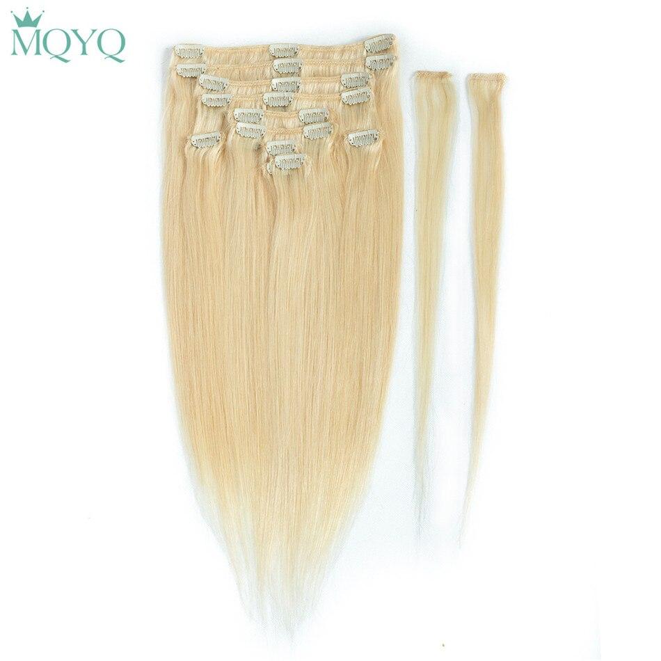 Mqyq 12 шт. шелковистая прямая клип в волос бразильский человеческого волоса 100 г блондинка #613 Цвет клип на человеческих волос