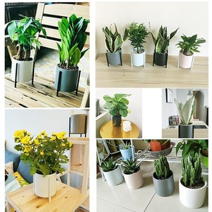Image 5 - Nordic simple Ceramic Flower Pot Planter And Geometric Round Iron Rack Stand Anti rust Holder Display Home Decoration