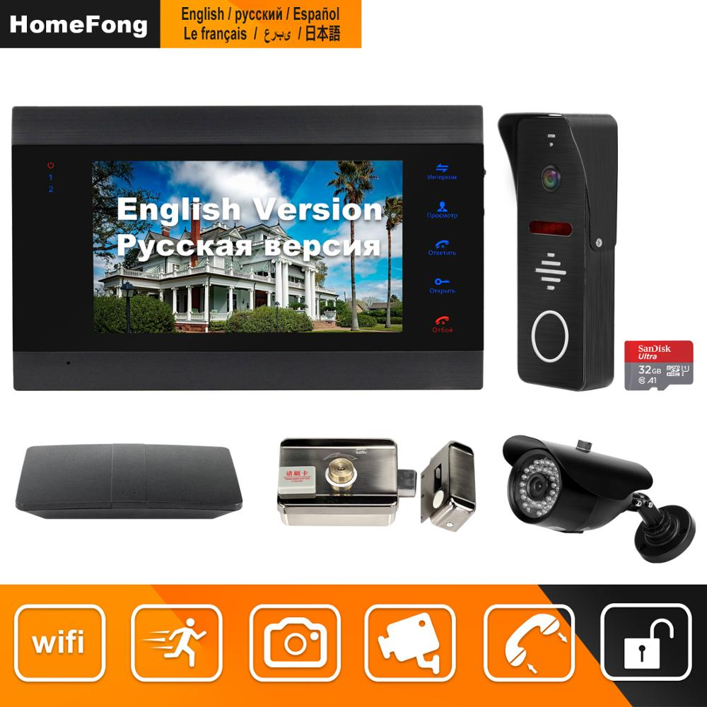 HomeFong Wifi Video Intercom Wireless Door Intercom Home Security Access Control System Kits APP Remote Unlock Real Time Control