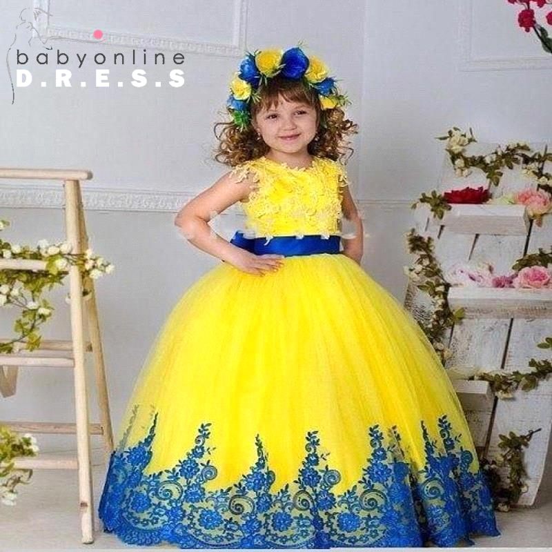 Yellow Princess Christmas Ball Gown Girls Lace Appliques