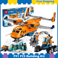 791pcs City Arctic Supply Cargo Plane Ice Cutter Vehicle Explorer 02112 Model Building Blocks Gifts sets Compatible With lego
