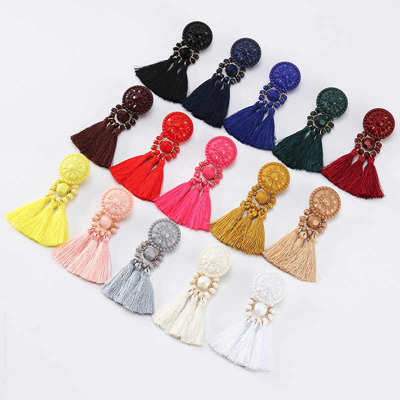 Длинные в виде капель висячие серьги с бахромой винтажные женские серьги с кисточками 9 цветов Boho массивные брендовые ювелирные изделия женские аксессуары
