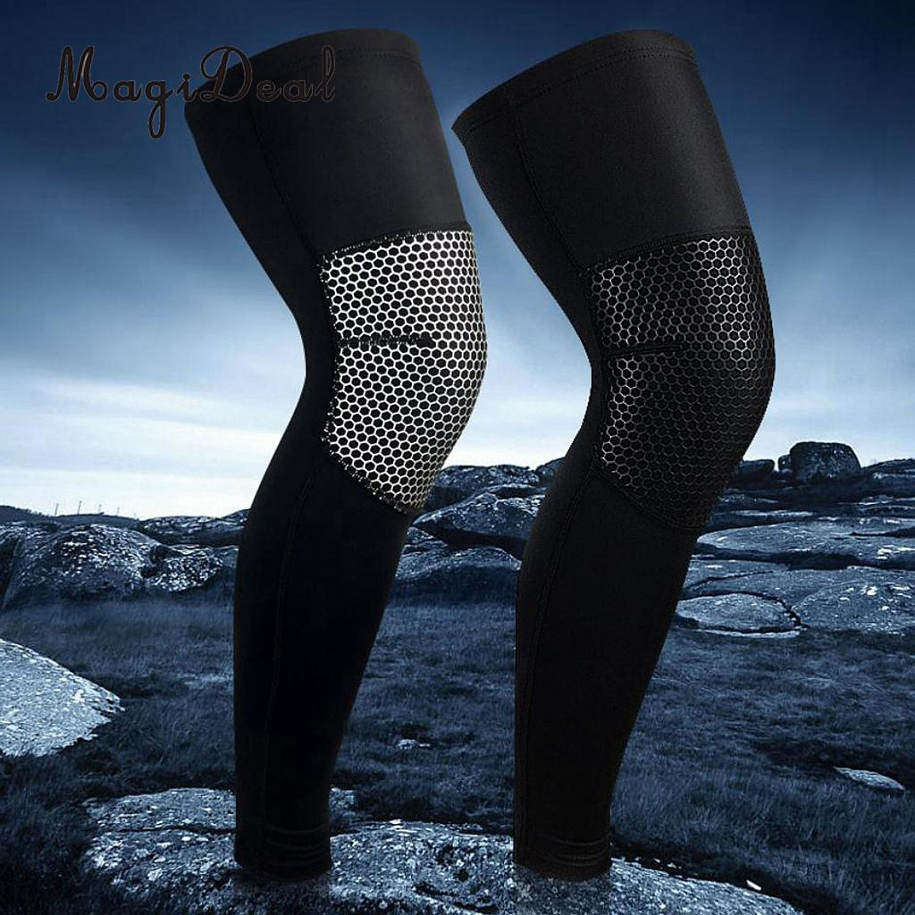 MagiDeal High Quality 1Pc Legwarmers Compression Bicycle Basketball Stocking Sports Leg Sleeves Knee Sports Safety Protector