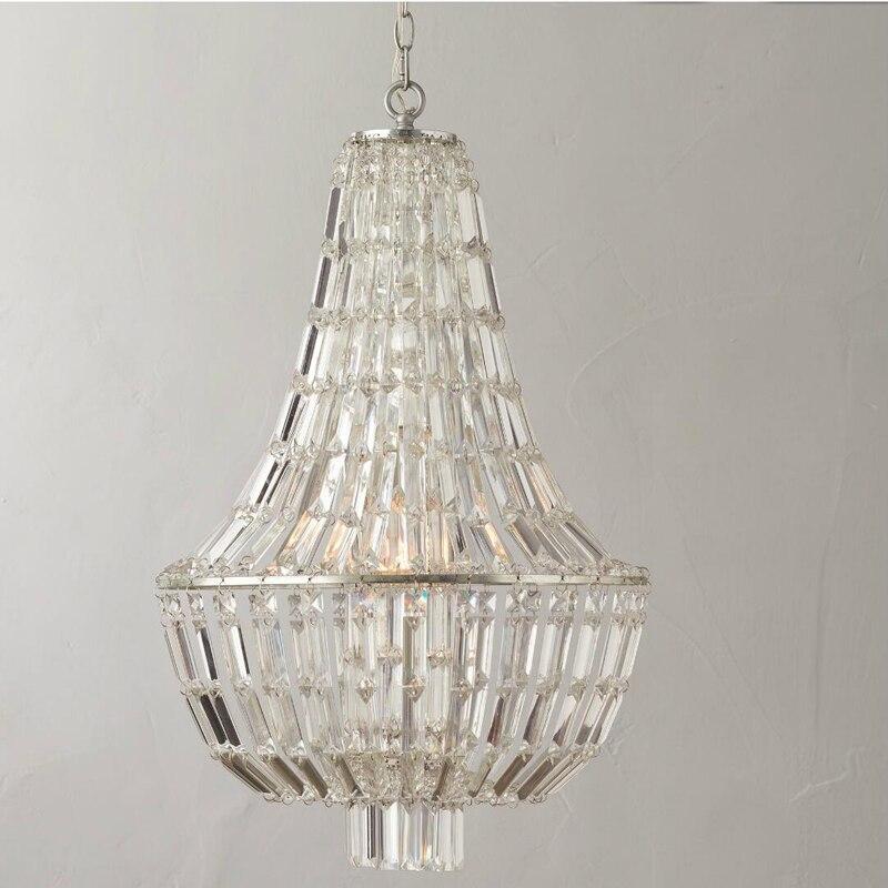 T Rétro Américain Cristal Chambre Pendentif Lumière Pour Salle À Manger Restaurant Chambre Salle D'étude Salon Hôtel LED E14 ampoules