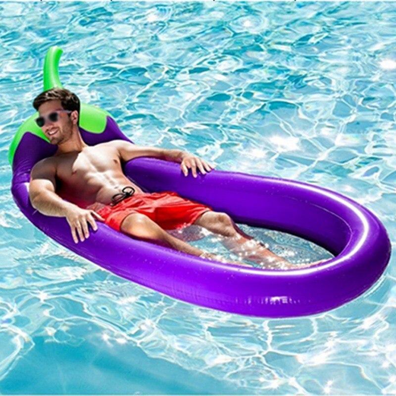 Matelas gonflable géant de flotteur de piscine d'aubergine lit de bain de soleil tapis de plage de cercle jouets de partie matelas flottant de plage d'eau de natation