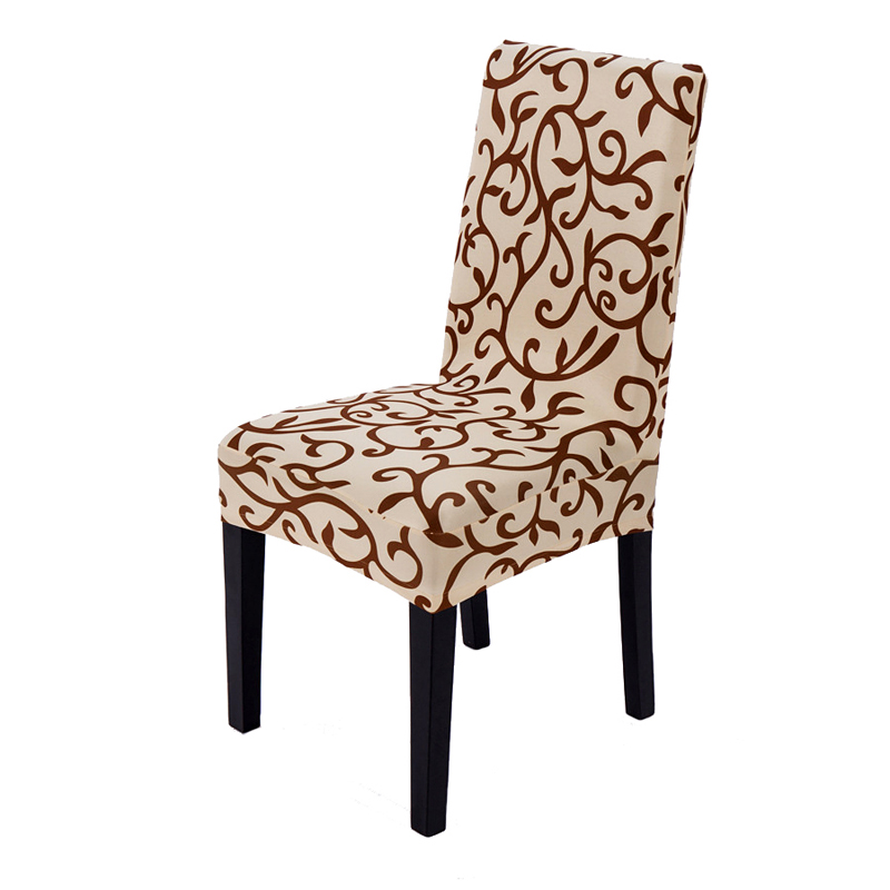 Classic Printing Polyester Anti-dirty Removable Stretch Dining Chair Protector Slipcover Cover Cheap Elastic Chair Seat Case