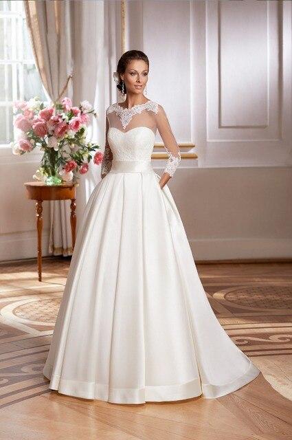 high quality vestidos de novia three quarter sleeves vintage wedding