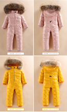 Childrens Siamese Down Jacket Boys and Girls Outer Down Jacket Down Jacket Winter Padded Ski Suit