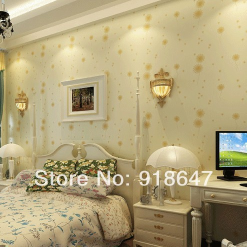 Wholesale High Quality Vintage Dandelions Flower Non Woven Wallpaper Wall Paper Roll For Living Room Bedroom 5Rolls/lot non woven bubble butterfly wallpaper design modern pastoral flock 3d circle wall paper for living room background walls 10m roll
