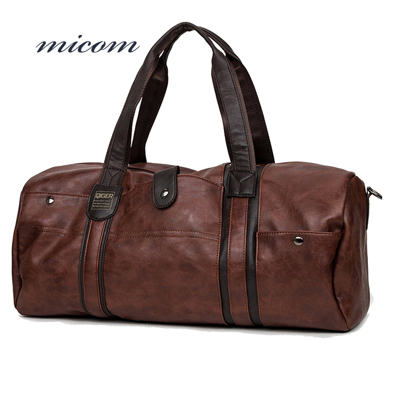 Micom 2017 Fashion Travel Bags Pu Leather Bag Solid Zipper Travel Tote Large Duffel Bags for Men,boys aosbos fashion portable insulated canvas lunch bag thermal food picnic lunch bags for women kids men cooler lunch box bag tote
