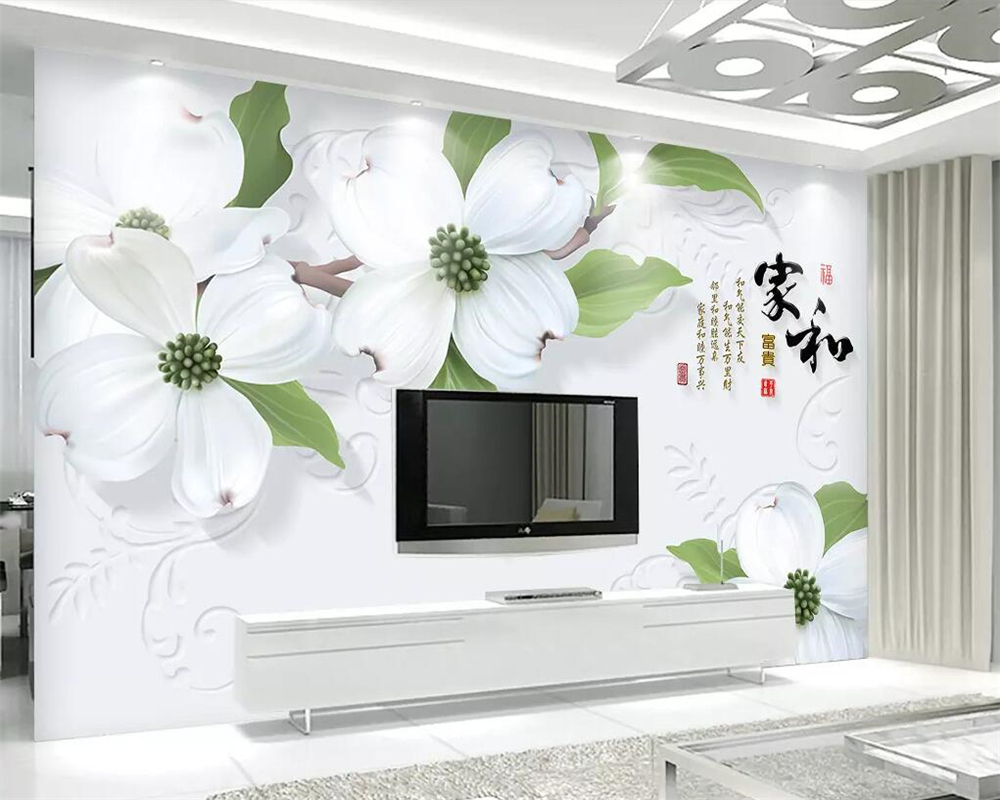 Us 8 85 41 Off Beibehang Custom Wallpaper 3d Stereo White Flowers Floral Tv Background Wall Home Decoration Living Room Bedroom 3d Wallpaper In
