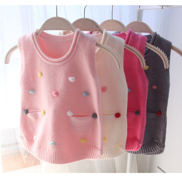 Baby Infant Toddler Girls Wool Sweater Vest With Balls Children Cotton Baby Vest Knitted Top Wear