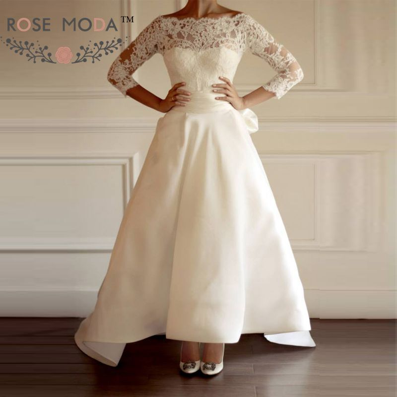 Scalloped boat neck 34 sleeves lace wedding dress with detachable scalloped boat neck 34 sleeves lace wedding dress with detachable high low skirt convertible wedding dresses vestidos de noiva in wedding dresses from junglespirit Image collections