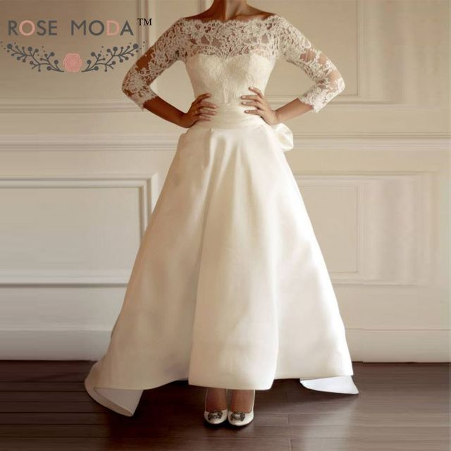 Scalloped Boat Neck 3/4 Sleeves Lace Wedding Dress with Detachable ...