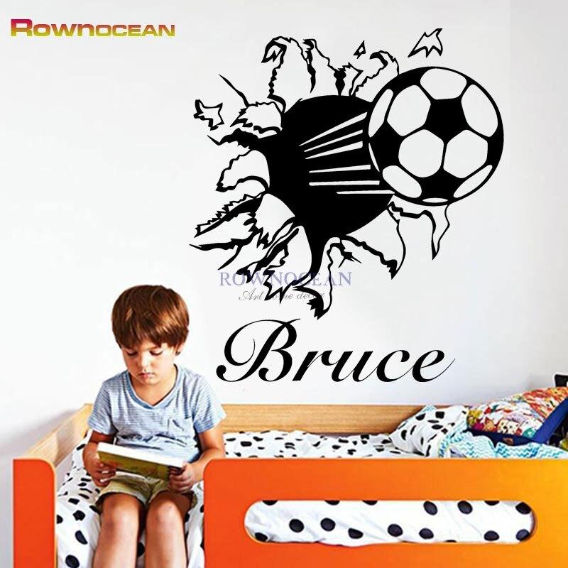 Aliexpress Com Buy G319 Soccer Shooting Custom: Customized Name Wall Art Sticker For Boy Breakthrough Wall