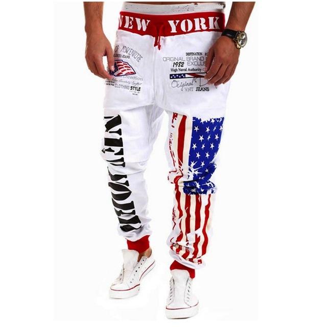 2016 nuevos pantalones de la llegada pantalones letra de la impresión de ropa deportiva masculina de Nueva York impresión de las letras pantalones cómodos pantalones harem hombres