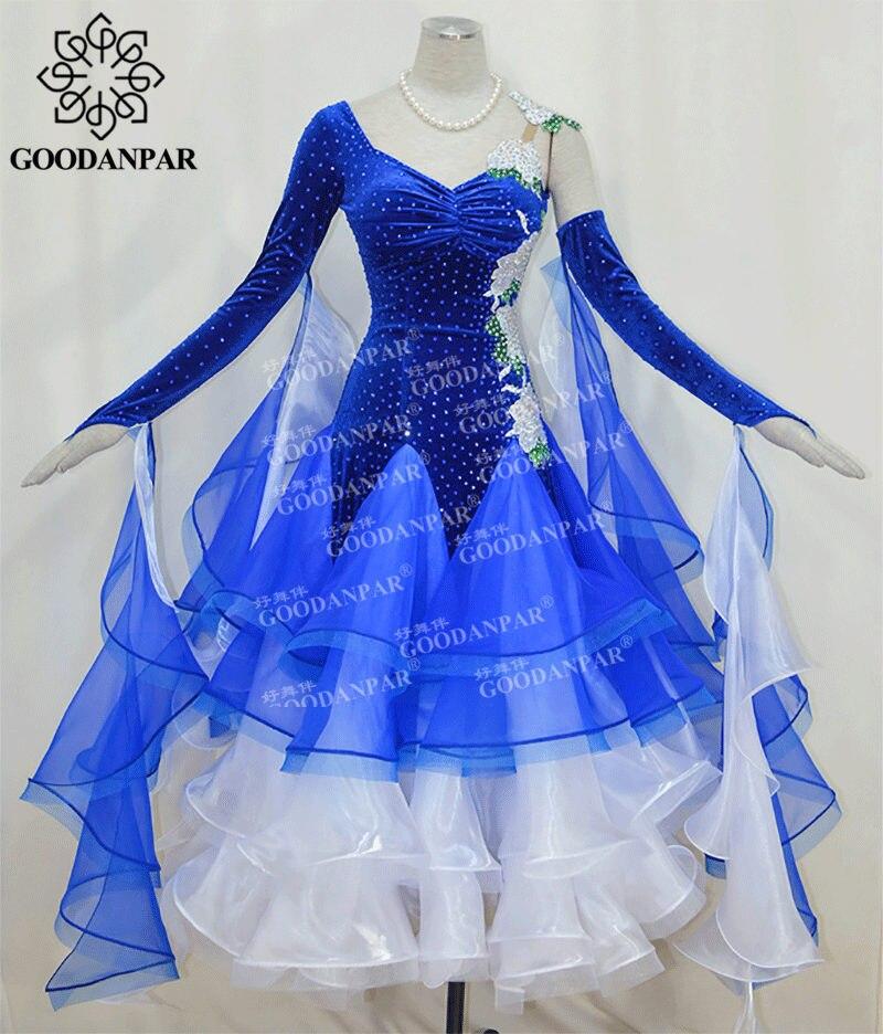 GOODANPAR New Backless Stretch Lycra Ballroom Dress Women With Bodysuit Bra Cups Pearl Necklace Waltz Competition Dance Dress
