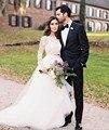 Hermoso Vestido de Novia de Manga Larga de Encaje Dos 2 Unidades Jardín Bohemio Blanco Tul de Novia vestidos de Novia vestidos de novia