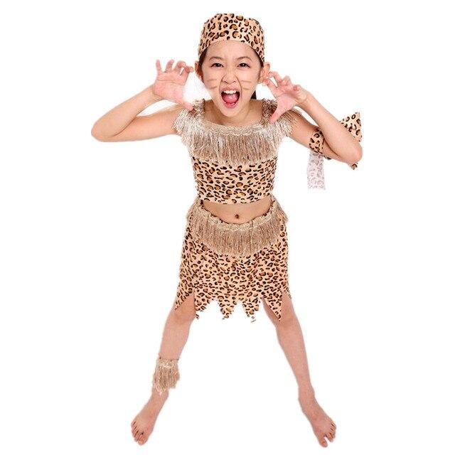 Disfraz de Cosplay de Wildman con estampado de leopardo para niños, disfraces de espectáculo salvaje para niños, decoración para vestido de fiesta Halloween