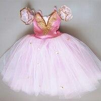 Sıcak satış Spandex Yumuşak Pembe Bale Elbise, Yetişkin Kız Balerin Bale Dans Kostümleri, uzun Romantik Bale Performans Elbiseler