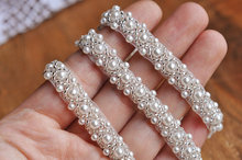 Beaded lace trim 1cm (0.39 Inch)crystal lace trim ivory sequined lace sash wedding lace 5 yards/Lot