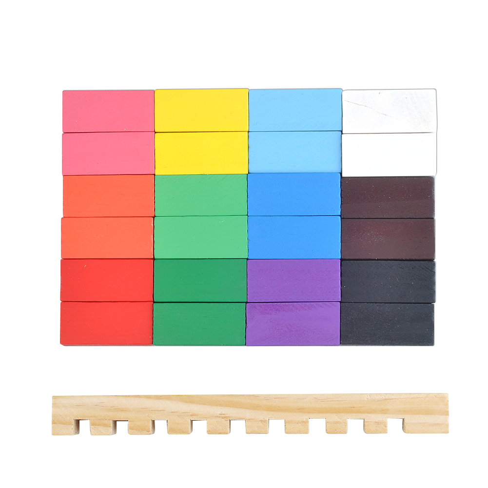240pcs Colored Wooden Domino Set 36
