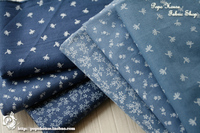 Customized 160cm Width Blue Denim Jean Flower Dot Chiffon Silk Cotton Gauze Cloth Fabric Shirt Coat