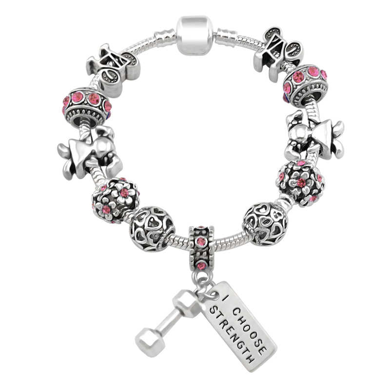 3f4e1aa77 2019 New Arrival Sport Dumbbell Charms Bracelet For Women Girl Bead Fit  Pandora Bracelets Women Jewelry