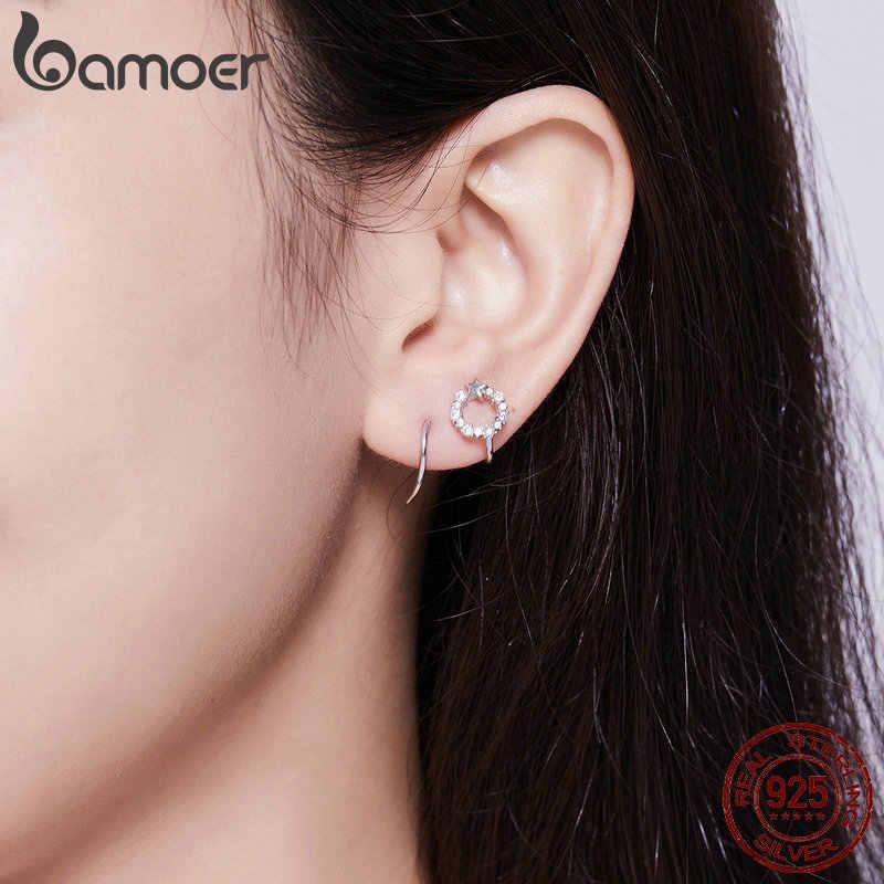 Bamoer Twine Hoop ต่างหูผู้หญิงเงิน 925 Star รอบๆหูแฟชั่นเครื่องประดับเครื่องประดับเกาหลี SCE637