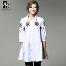 spring summer runway designer womans dresses dark blue white mini cotton dress leaf pattern beading embroidery shirt style dress
