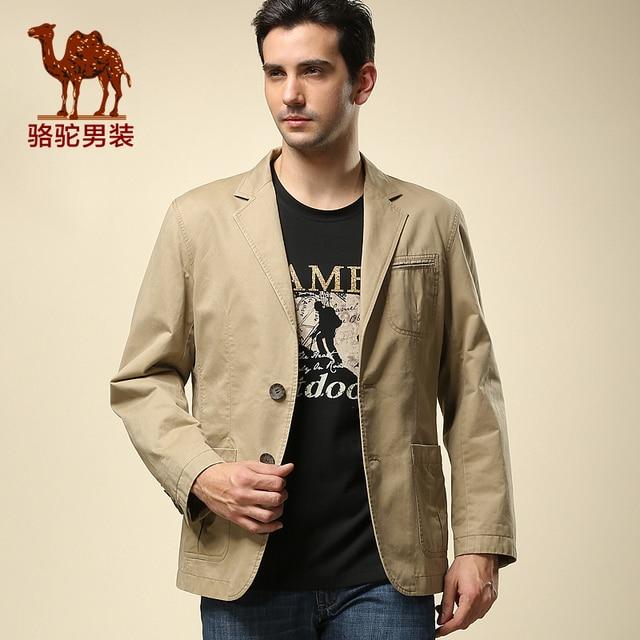 camel camello hombres de moda fina capa delgada ocasional traje hombres solteros occidentales de manga larga