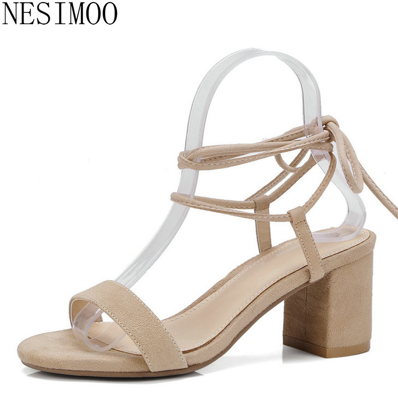 NESIMOO 2018 Women Sandals Square High Heek Kid Suede Women Shoes Fashion  Lace Up All Match 7b352d36ddd0