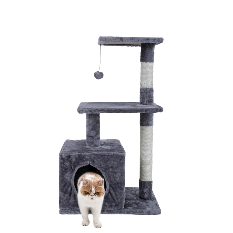 NEW Design Cat Tree Height 85CM House for Cat Easy Assembly 2Colors Kitten Big Cat Toys Pet Products Cheap Good Quality WJ0420
