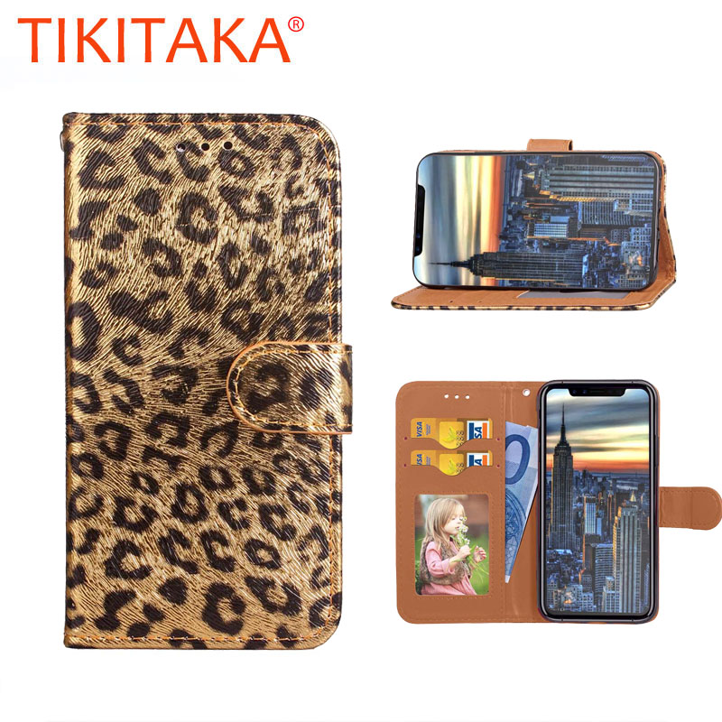Wallet Case For <font><b>iPhone</b></font> 7 6 6S Plus <font><b>8</b></font> 8plus Phone cases <font><b>Sexy</b></font> Leopard Print Leather Flip Stand PU Soft Back <font><b>Cover</b></font> Pink Panther image